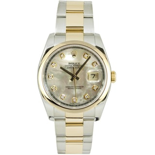 Pre-Owned Rolex Men's Datejust Two-tone Oyster Band Mother of Pearl Dial Watch