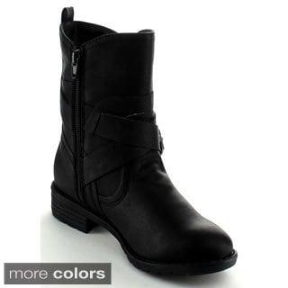 Nature Breeze Women's 'Impact-01' Mid-calf Buckled Combat Boots