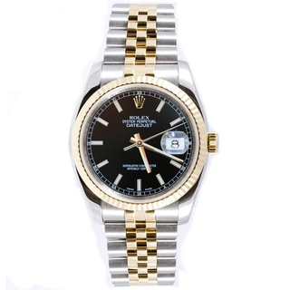 Pre-Owned Rolex Men's Datejust Two-tone Jubilee Band Black Index Dial Watch