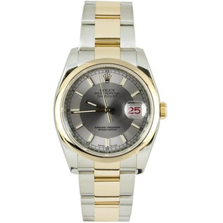 Pre-Owned Rolex Men's Datejust Two-tone Oyster Silver Tuxedo Index Dial Watch