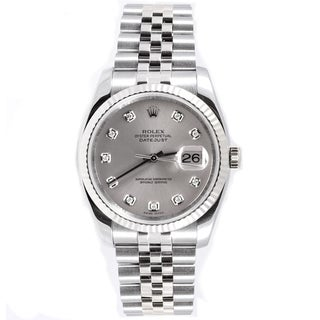 Pre-Owned Rolex Men's Datejust Stainless Steel 18k White Gold Fluted Bezel Watch