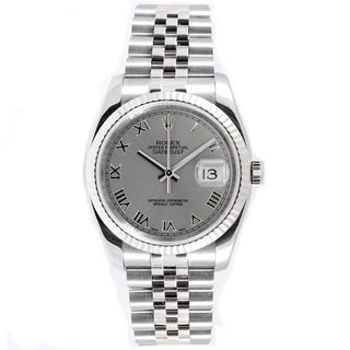 Pre-Owned Rolex Men's Datejust Jubilee Band Fluted Bezel Silver Roman Dial Watch