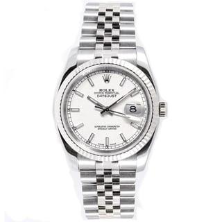 Pre-Owned Rolex Men's Datejust 18k White Gold Bezel Jubilee Automatic Watch