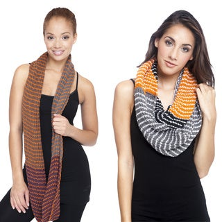 Hand-knit Women's Dual-color Infinity Winter Scarf (Nepal)
