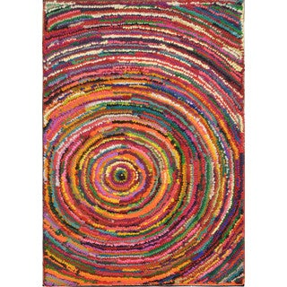 ArtistryTransitional Multicolor Concentric Circles Area Rug (5'3x7'7)