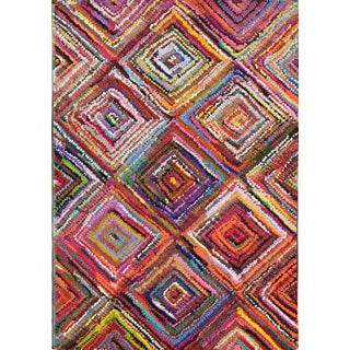 Artistry Transitional Multicolor Squares Area Rug (5'3x7'7)