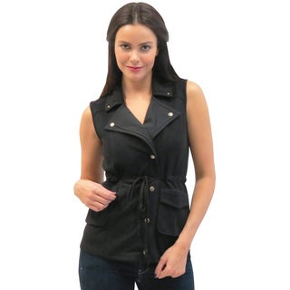 Women's Caite Black Sleeveless Jacket with Drawstring Waist