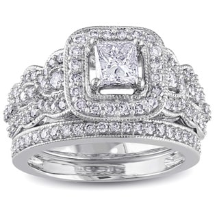 Miadora 14k White Gold 1 1/4ct TDW Certified Diamond Bridal Ring Set (G-H,I1-I2)