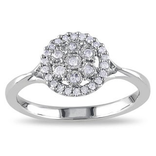 Haylee Jewels Sterling Silver 1/5ct TDW Diamond Flower Ring (H-I,I2-I3)