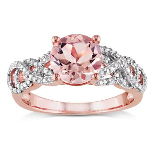 Miadora Rose Goldplated Silver Morganite and 1/10ct TDW Diamond Ring (H-I, I2-I3)