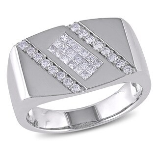 14k White Gold Men's 5/8ct TDW Diamond Ring (G-H, SI1-SI2)