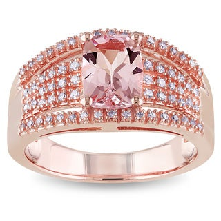 Miadora 10k Rose Gold Morganite and 1/4ct TDW Diamond Ring (G-H,I1-I2)