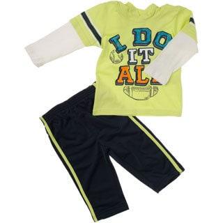 Kids Headquarters Infant Boys 2-piece All Sport Hood Tee/Tricot Pant