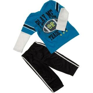 Kids Headquarters Boys 2710452019-99F-P6 (4-7x) 2-piece Football Hood Tee/ Tricot Pant
