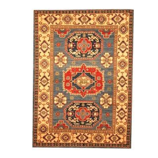 Herat Oriental Afghan Hand-knotted Tribal Kazak Blue/ Beige Wool Rug (5' x 6'11)