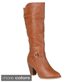 Journee Collection Women's 'France' Ankle-strap Buckle Knee-high Dress Boot