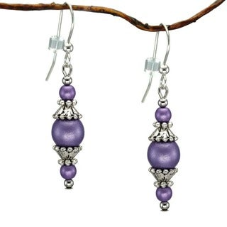 Jewelry by Dawn Round Purple Glass with Pewter Accent Dangle Earrings