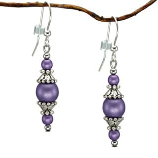Jewelry by Dawn Sterling Silver Round Purple Glass Beads and Pewter Accent Dangle Earrings