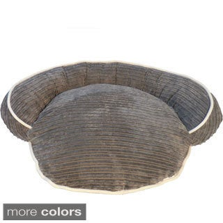 Ribbed Super Soft Round Bolster Pet Bed
