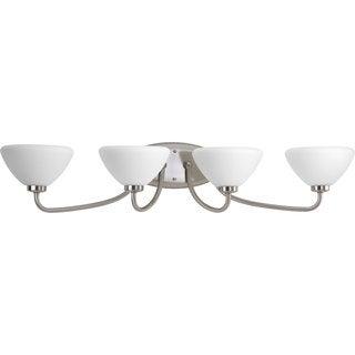 Progress Lighting Silvertone Rave Collection 4-light Brushed Nickel Bath Light
