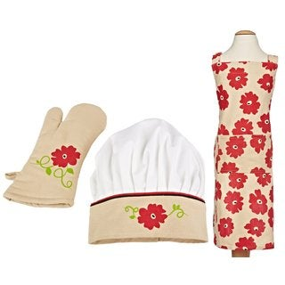 MUkitchen MiniMU Red Poppy 3-piece Kids Apron Set