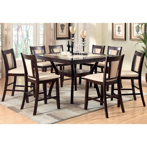 Mood Warm Oak Kitchen Dining Chair With Dark Brown: Furniture Of America Kateria Duo-tone 9-Piece Faux Marble