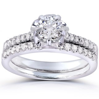 Annello 14k White Gold 5/8ct TDW Round-cut Diamond Bridal Ring Set (H-I, I1-I2)
