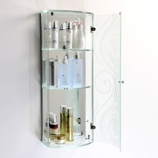 Tempered Glass Swirl Design Wall Cabinet