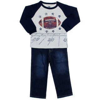 Kids Headquarters Toddler Boy 2-piece Football Raglan with Jeans