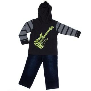 Kids Headquarters Toddler Boy 2-piece Guitar Hood Tee with Jeans