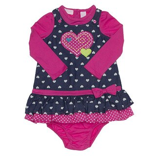 Girls Infant Hearts Chambrey Long-sleeved Jumper Dress Set