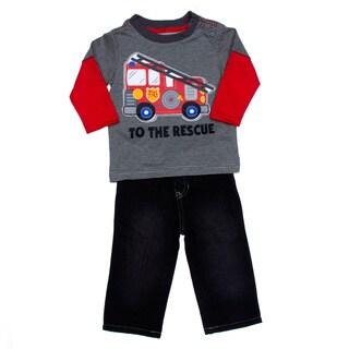 Kids Headquarters Infant Boy 2-piece Firetruck 2fer with Jeans