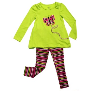GIrls Lime Butterfly Applique 2-piece Clothing Set