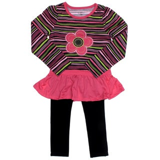 Kids Headquarters Girl (4-6x) 2-piece Flower Striped Peplum and Leggings