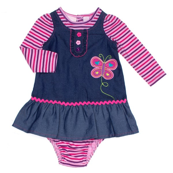 Girls Infant Butterfly Chambrey Long-sleeved Jumper Dress Set