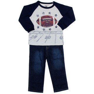 Kids Headquarters Boys (4-7x) Football Raglan with Jeans