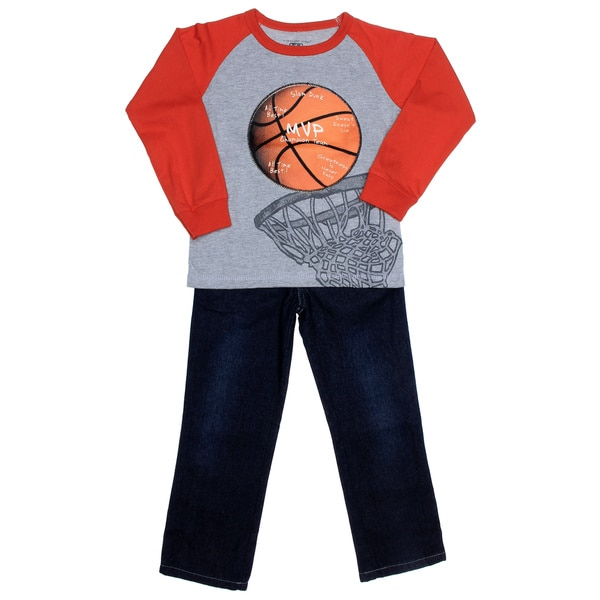 Kids Headquarters Boys (4-7x) Basketball Raglan with Jeans
