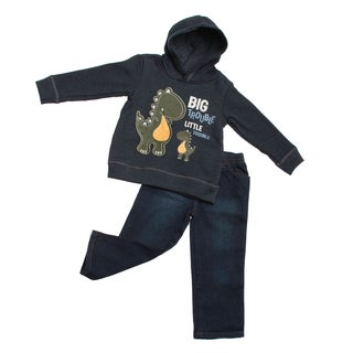 Boys Infant Dinosaur Hoodie and Jeans 2-piece Clothing Set