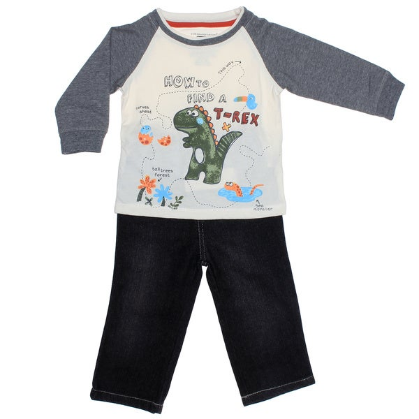 Kids Headquarters Infant Boy 2-piece Dino Raglan with Jeans