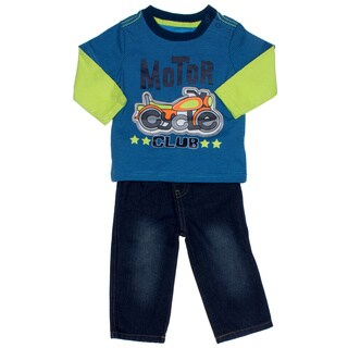 Kids Headquarters Infant Boy 2-piece Motorcycle Longsleeve Shirt and Jeans