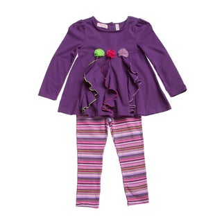 Kids Headquarters Girl (4-6x) 2-piece Flowers Tunic/ Striped Legging