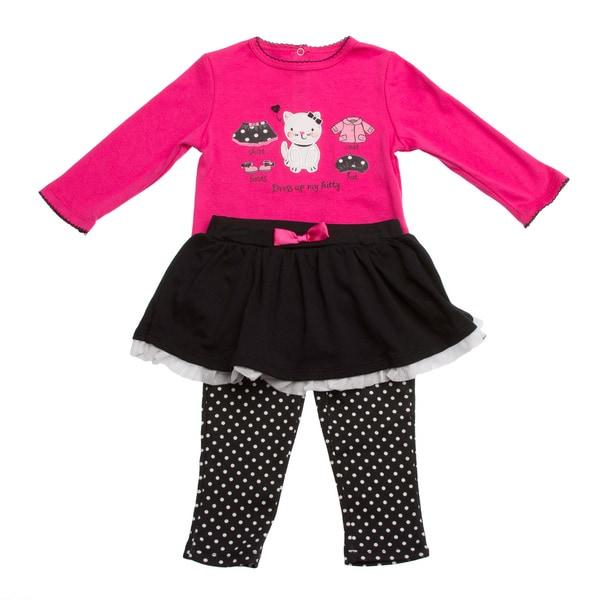 GIrls Pink/ Black Polka Dot and Cat Applique 2-piece Clothing Set