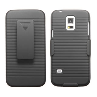 BasAcc Black Rubberized Dust Proof Hybrid Case Holster for Samsung S5 Mini