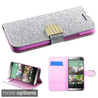 INSTEN Diamante Belt Wallet Stand Leather Phone Case Cover for HTC One 2 M8