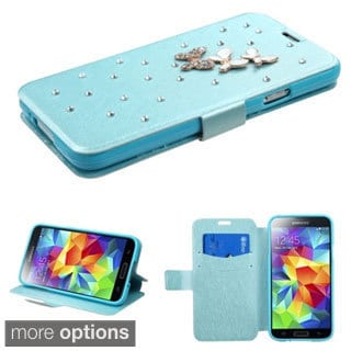 INSTEN Diamond Belt Wallet Stand Leather Phone Case Cover for Samsung Galaxy S5