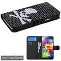 INSTEN Diamond Wallet Card Slots Leather Phone Case Cover for Samsung Galaxy S5