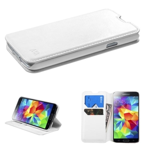 INSTEN White Wallet Card Slots Stand Leather Phone Case Cover for Samsung Galaxy S5