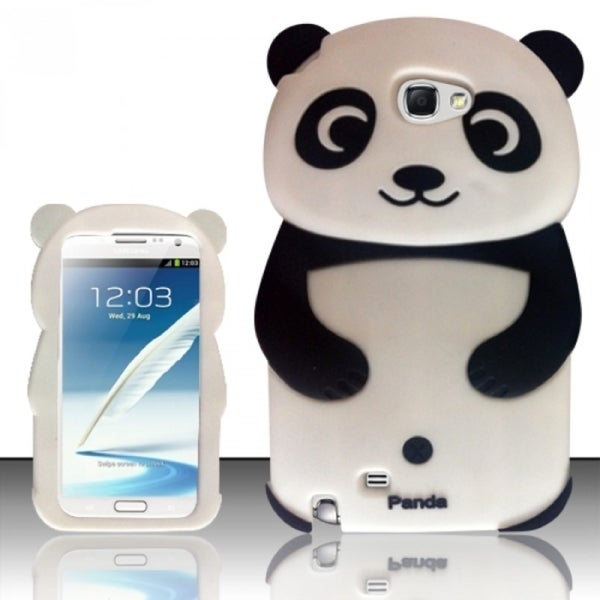 INSTEN Cartoon Panda Bear Soft Silicone Rubber Phone Case Cover for Samsung Galaxy Note 2