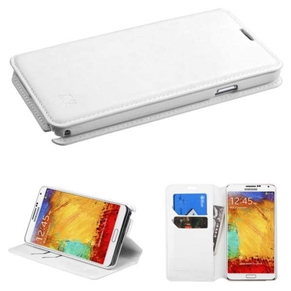 INSTEN White Magnetic Flap Wallet Stand Leather Phone Case Cover for Samsung Galaxy Note 3