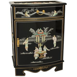 Black Lacquer Mother of Pearl Oval Front Shoe Cabinet (China)